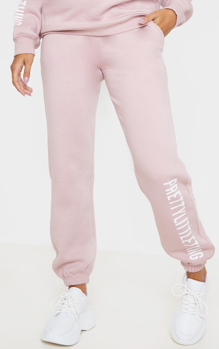 PRETTYLITTLETHING Pale Pink Slogan Joggers 2