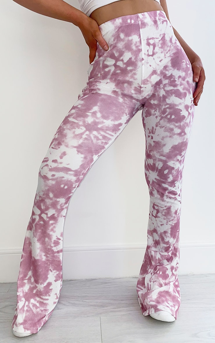 Pink Flared Tie Dye Trousers 2