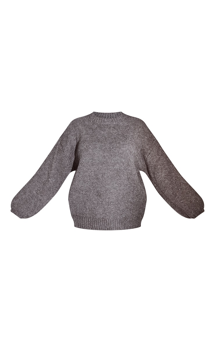 Grey Sponge Yarn Oversized Slouch Sweater 5