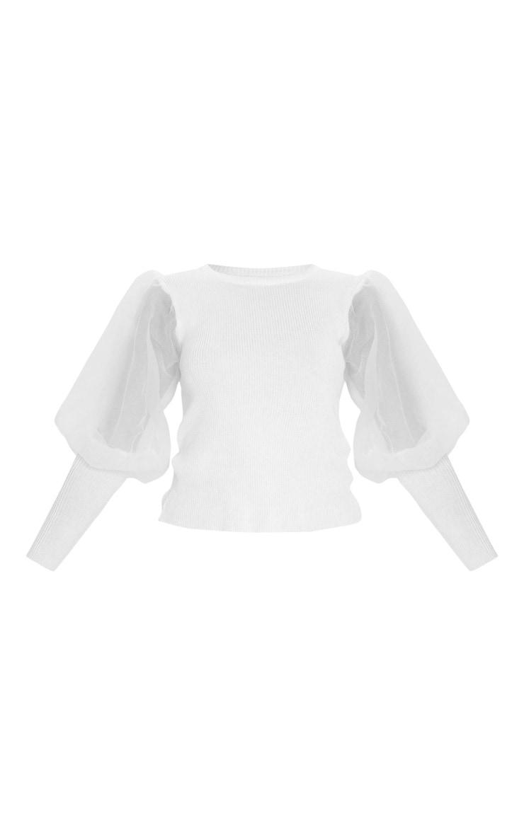 White Extreme Organza Puff Sleeve Jumper 5