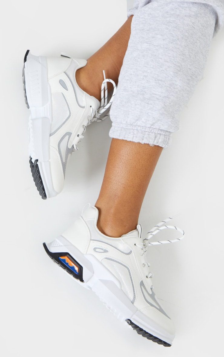 White Chunky Reflective Panelling Sneakers 2