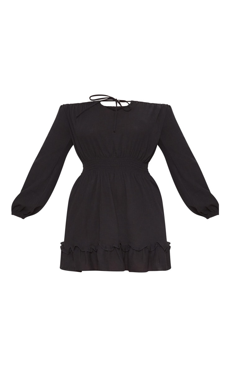 Plus Black Cheesecloth Bardot Swing Dress 3