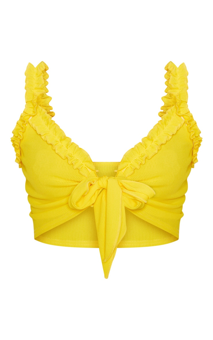 Yellow Rib Ruffle Detail Bralet  3