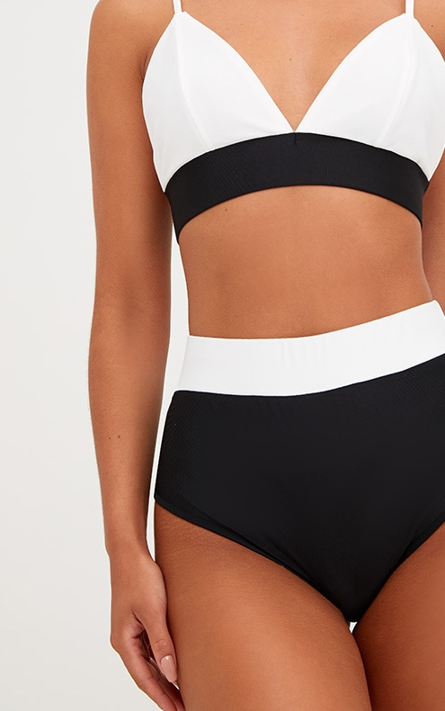 Black Contrast High Waisted Bikini Bottoms 5
