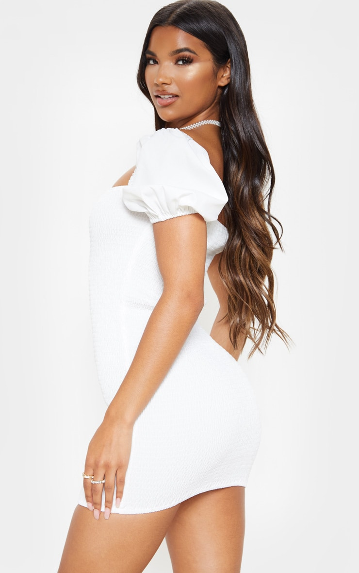 White Puff Sleeve Square Neck Shirred Bodycon Dress 2
