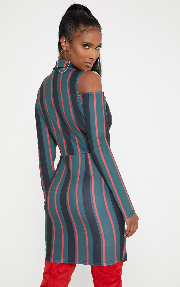 Emerald Green Cold Shoulder Long Sleeve Belt Detail Blazer Dress 2
