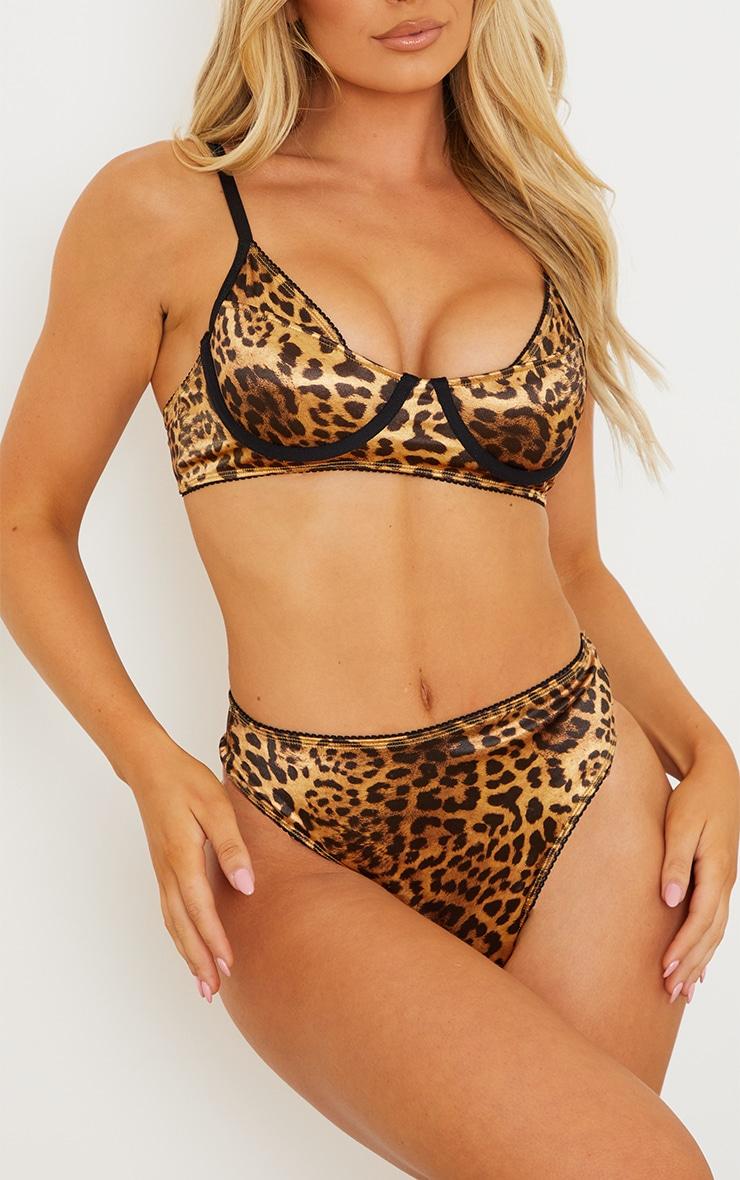 Brown Leopard Print Satin Thong 1
