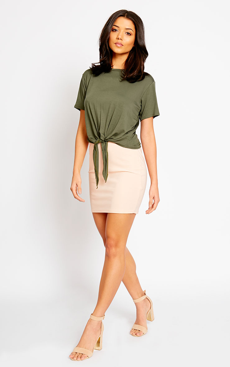 April Khaki Tie Front Crop Tee 3