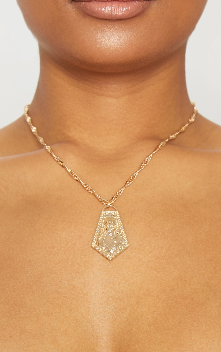 Gold Renaissance Halo Pendant Necklace