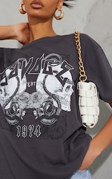 Charcoal Savage Slogan Rock T Shirt  4