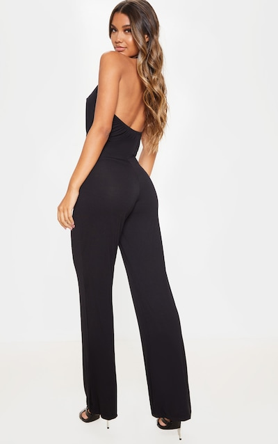 Black Halterneck Jersey Wide Leg Jumpsuit
