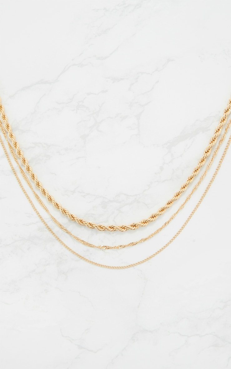Gold Triple Layered Chunky Necklace 3