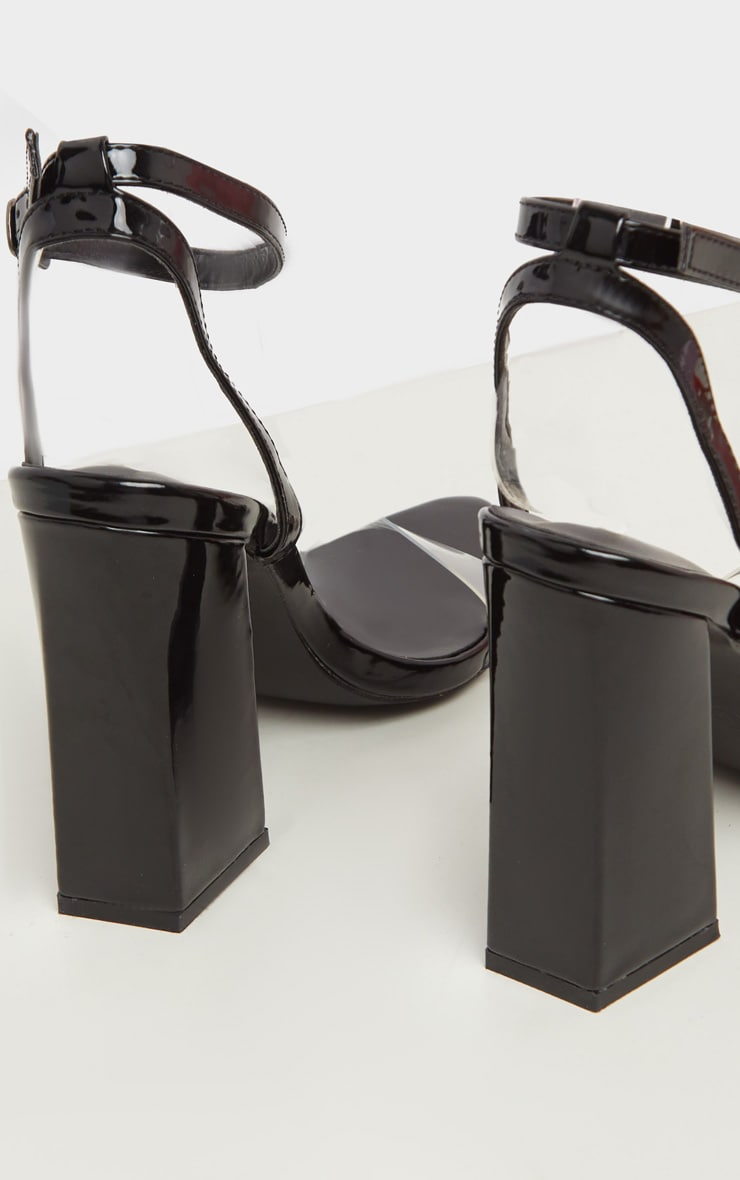Black Point Toe Block Heel Sandal 4
