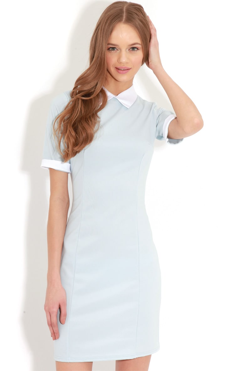 Eileen Baby Blue Collar Dress 1