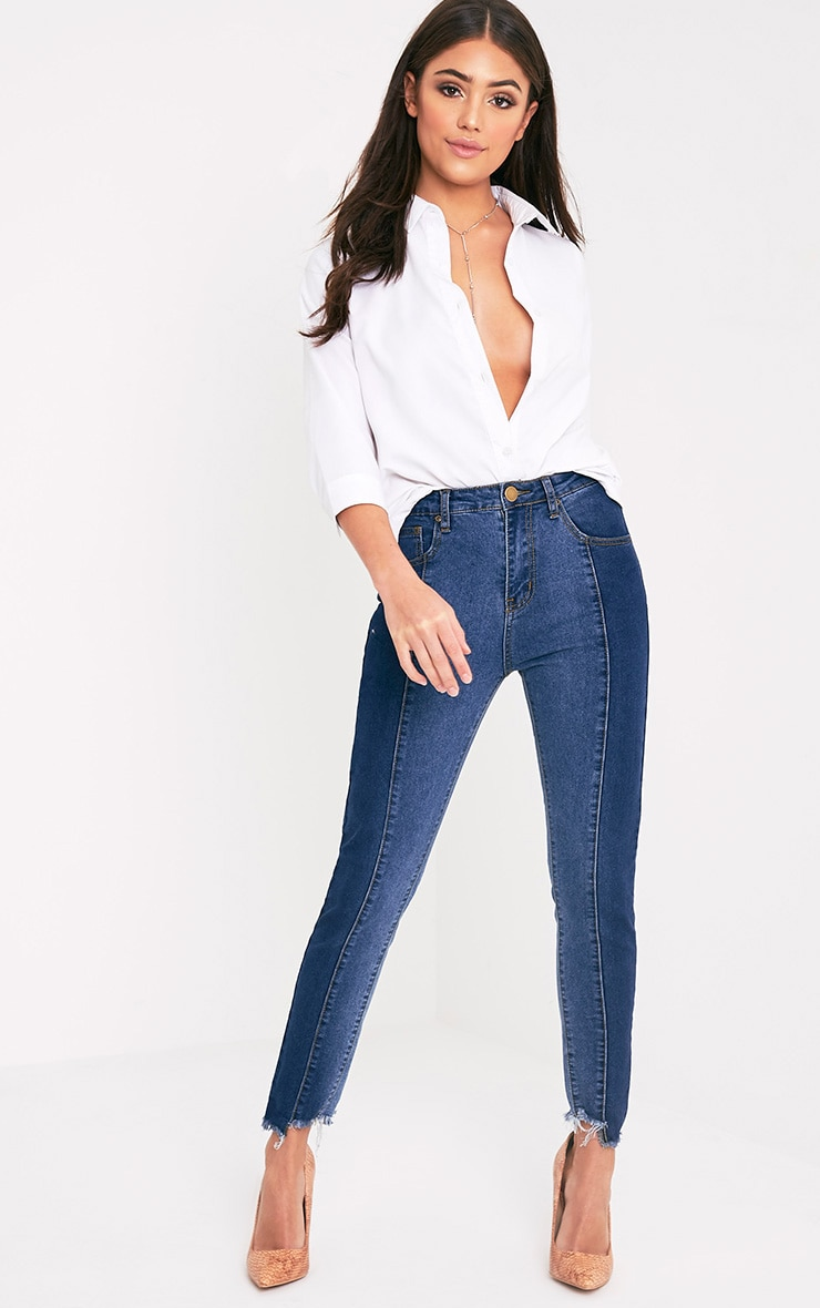Vintage Wash Panel Detail  Cut Hem Skinny Jean 1