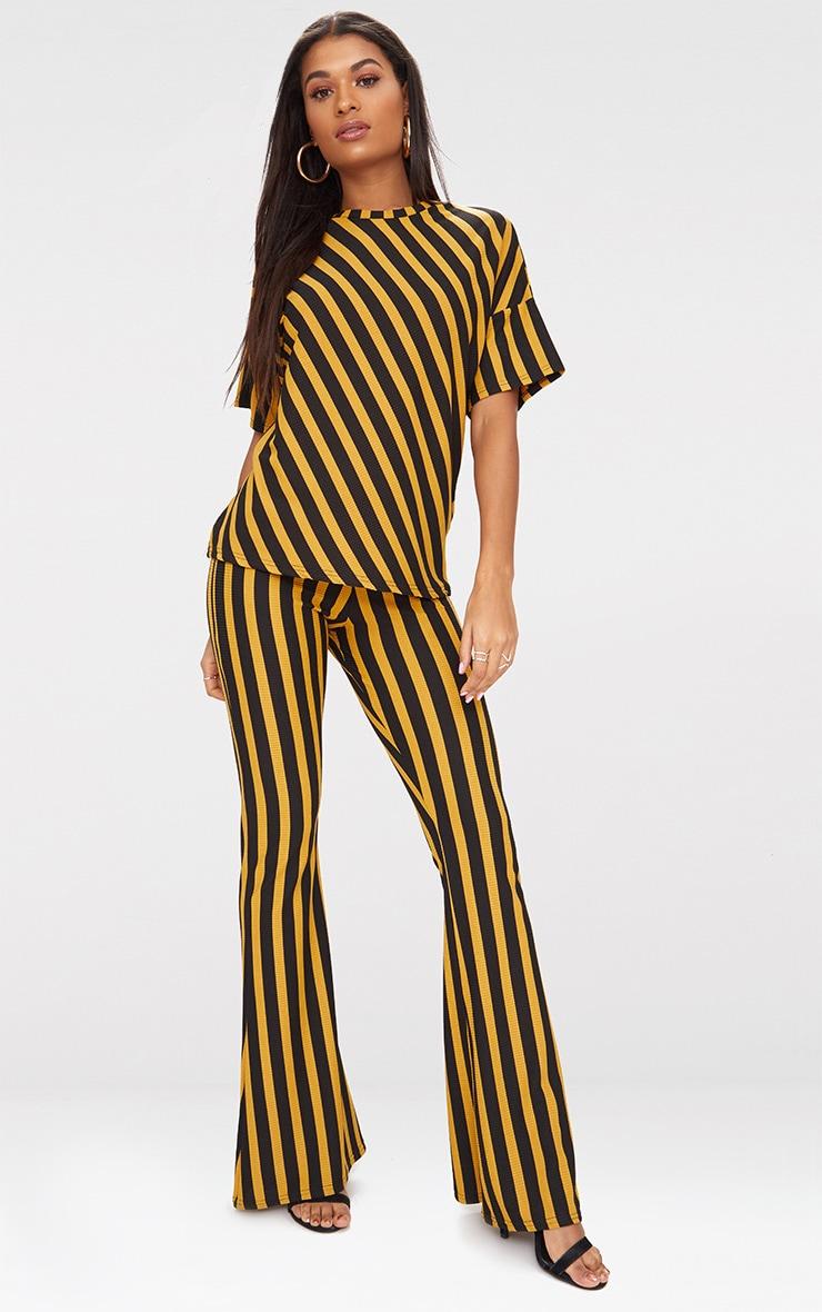 Mustard Vertical Stripe Flare Trouser  1
