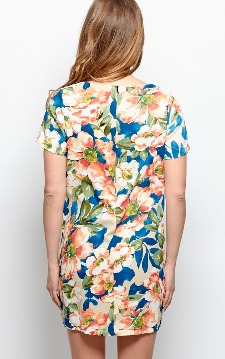 Zahra Orange Floral Shift Dress 2