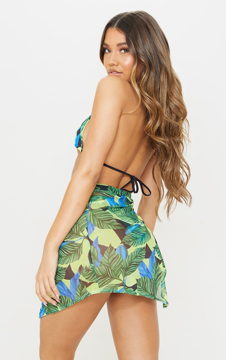 Green Leaf Print Triangle Bikini Top 2