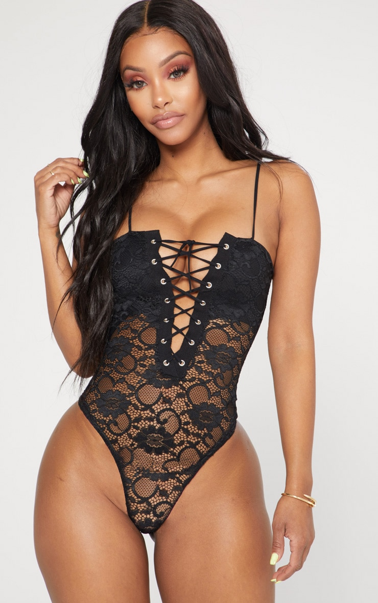 Shape Black Eyelet Detail Lace Bodysuit 2