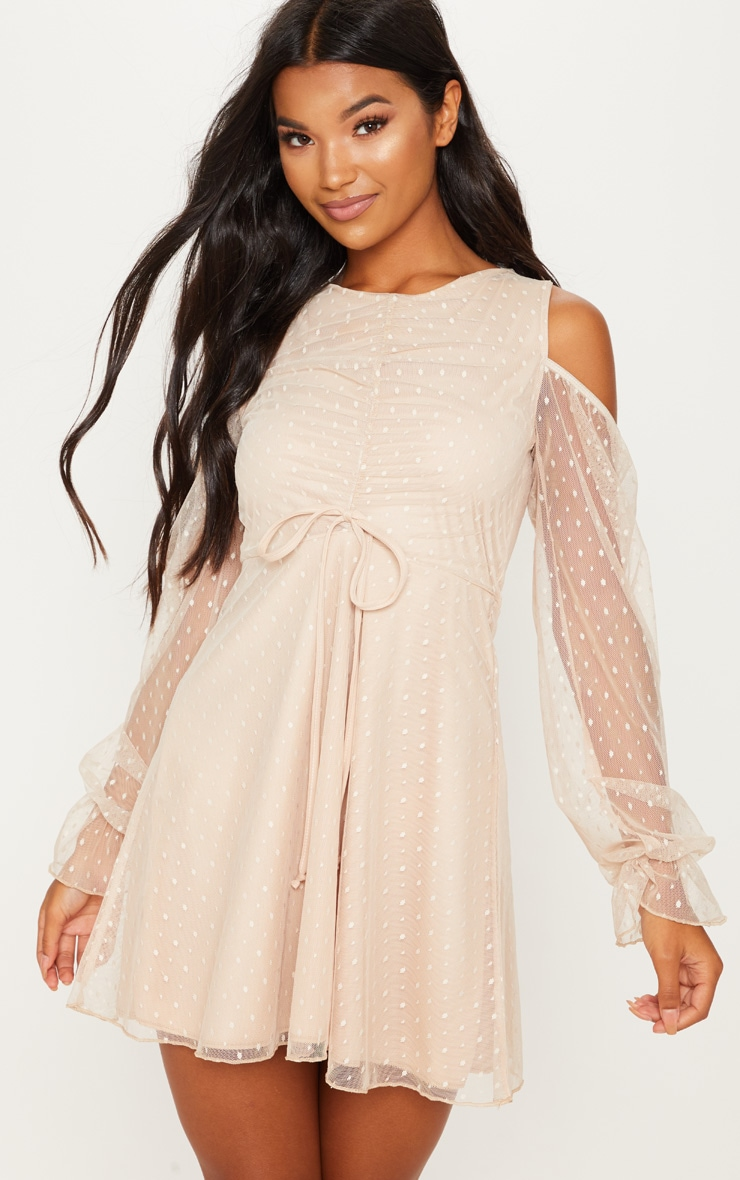 Stone Spotty Mesh Cold Shoulder Ruched Detail Skater Dress 1