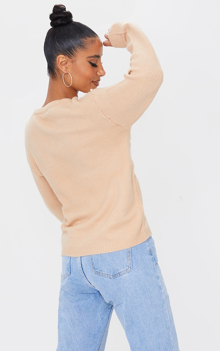 Oatmeal Pearl Detail Crew Neck Sweater 2