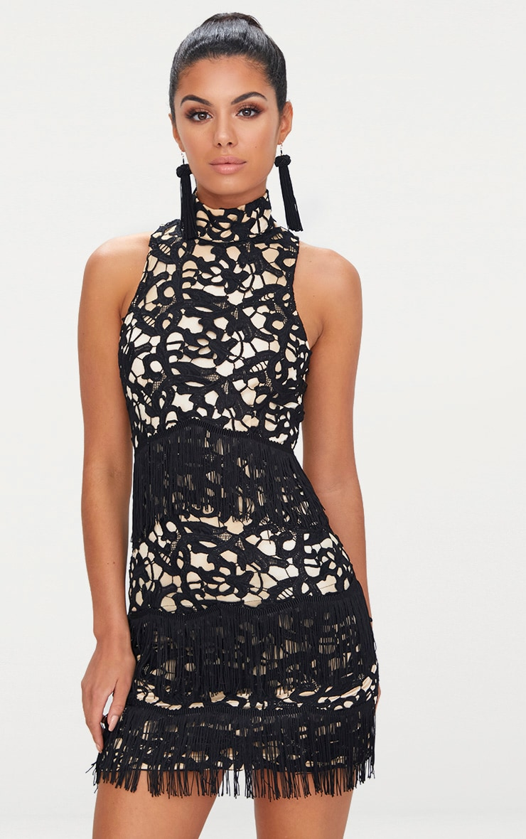 Black Lace Sleeveless Tassel Detail Bodycon Dress  1