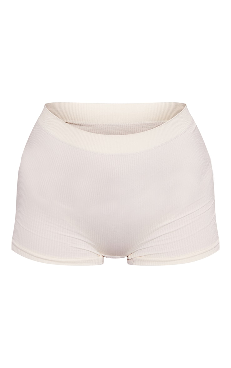 Cream Seamless Rib Boy Shorts 5