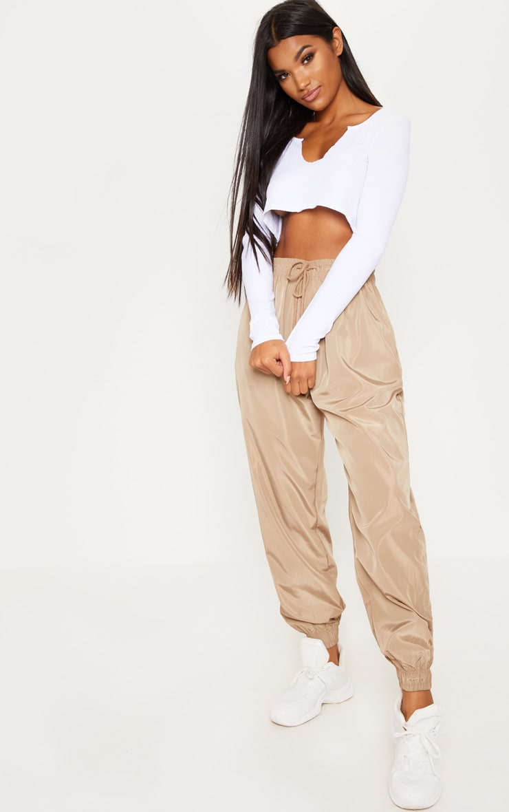 White Long Sleeve Rib Raw V Crop Top 4