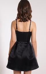 43a8df7cee1 Annora Black Satin Strappy Skater Dress image 3