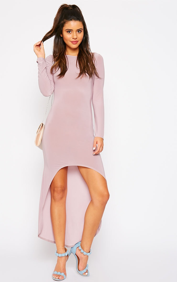 Fearne Mauve Slinky Dip Hem Dress 1