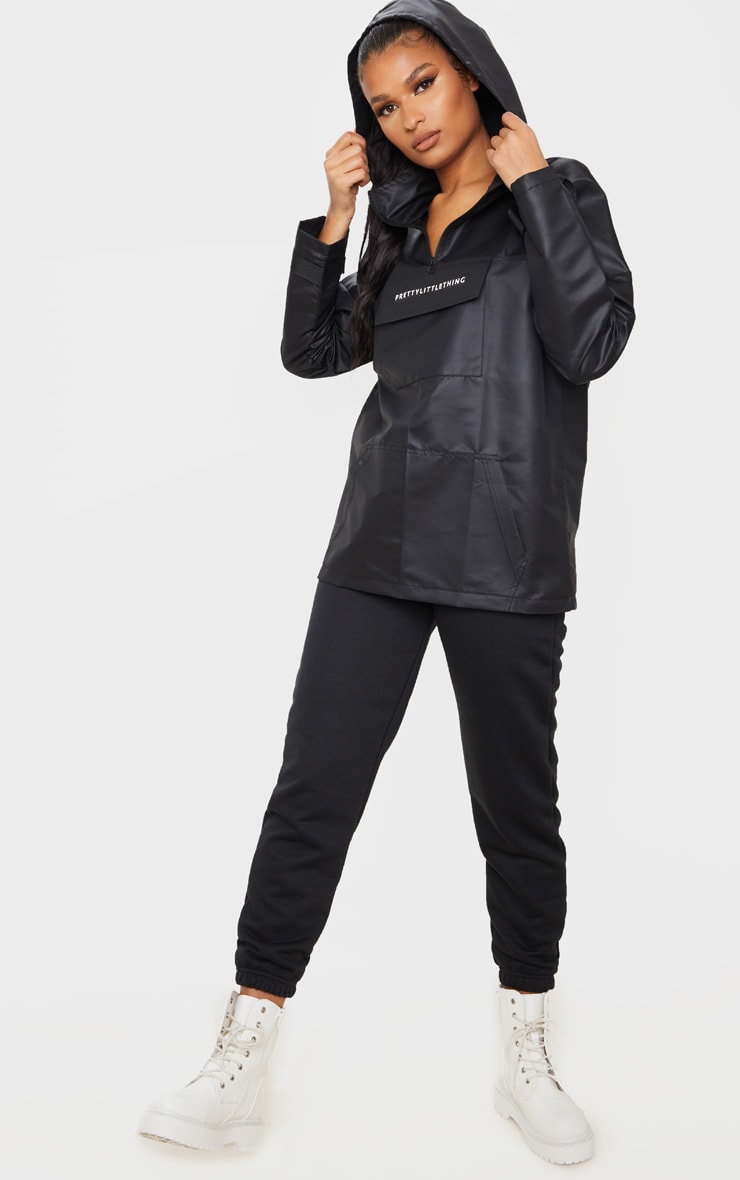 PRETTYLITTLETHING Black Pocket Front Hooded Pull Over Mac 3