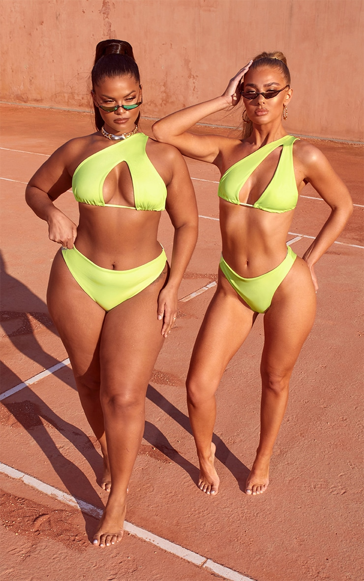 Plus Lime One Shoulder Bikini Top 3