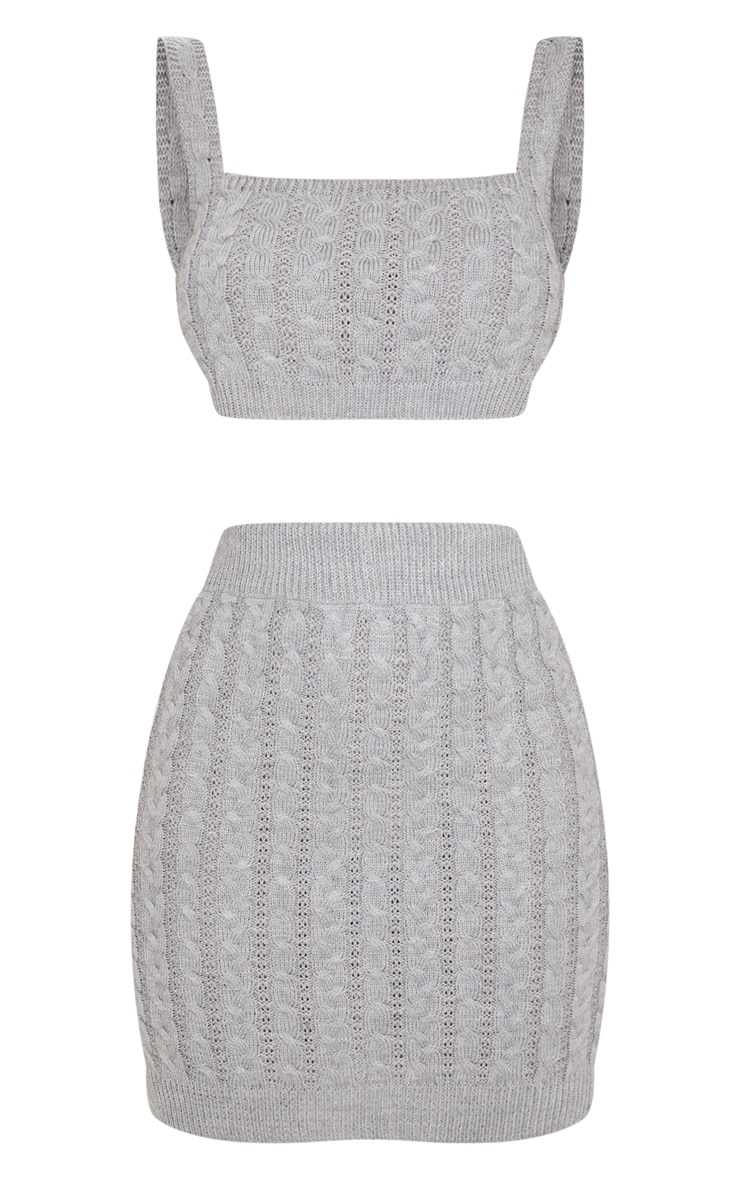 Grey Cable Mini Skirt Knitted Set 5