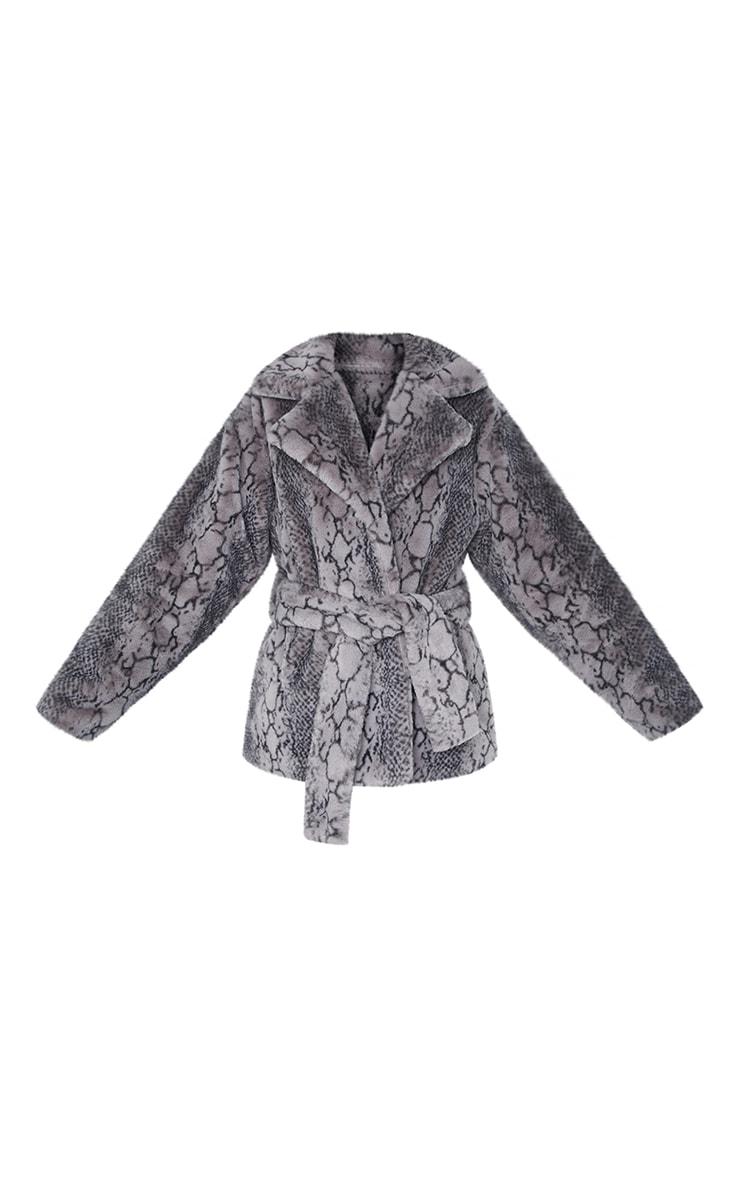 Grey Snake Print Faux Fur Coat 5
