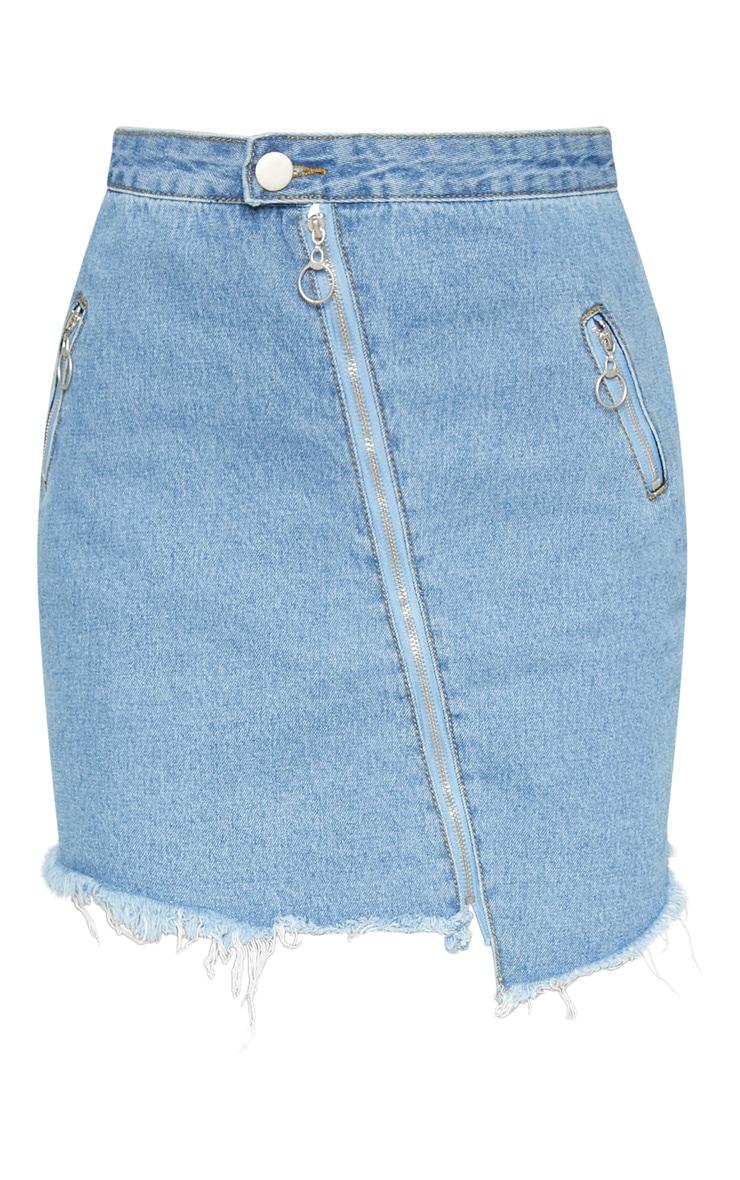 Mid Wash Zip Detail Mini Skirt 3