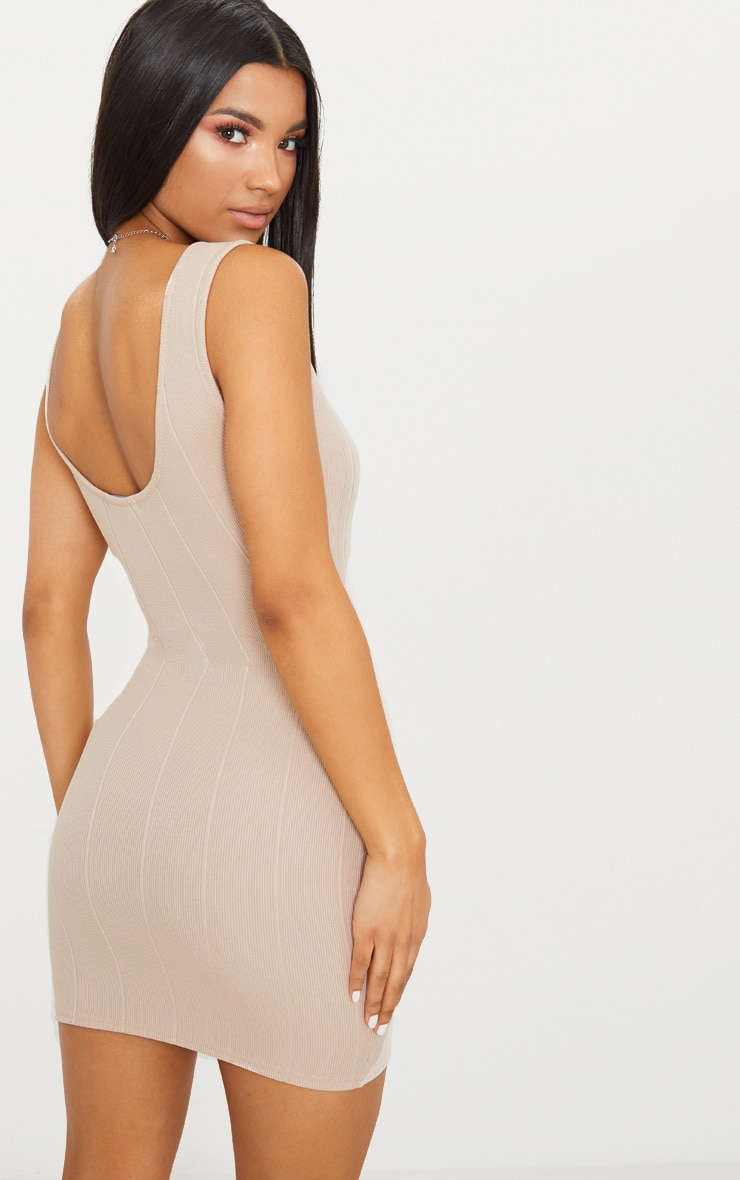 Stone Bandage Zip Detail Square Neck Bodycon Dress 2
