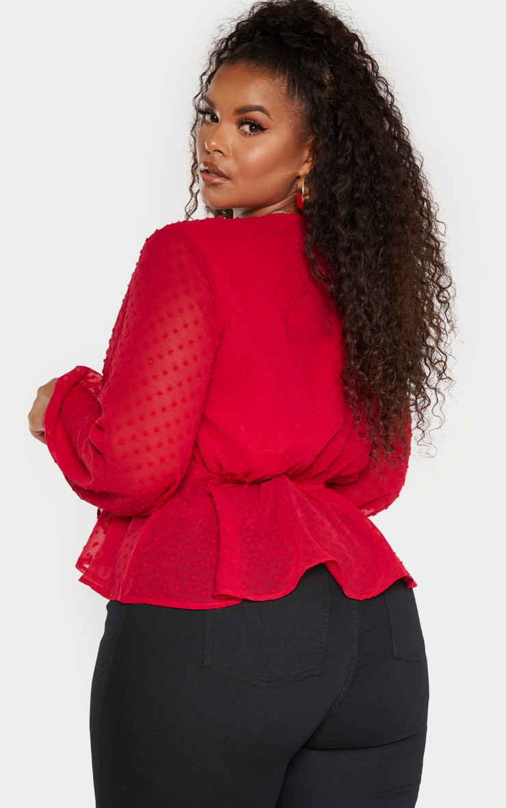Plus Scarlet Dobby Mesh Tie Front Blouse 2