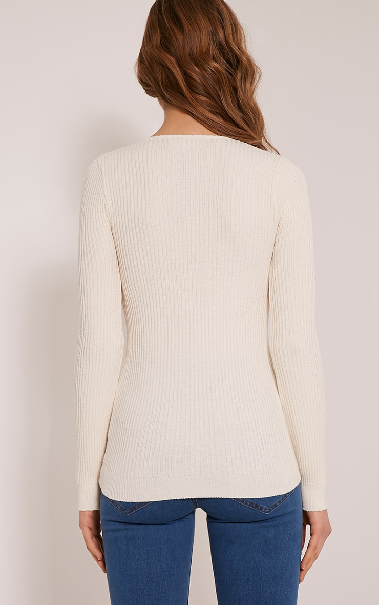 Skylah Cream Ribbed V Neck Jumper 2