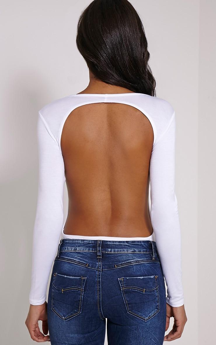 Basic White Backless Jersey Bodysuit 2