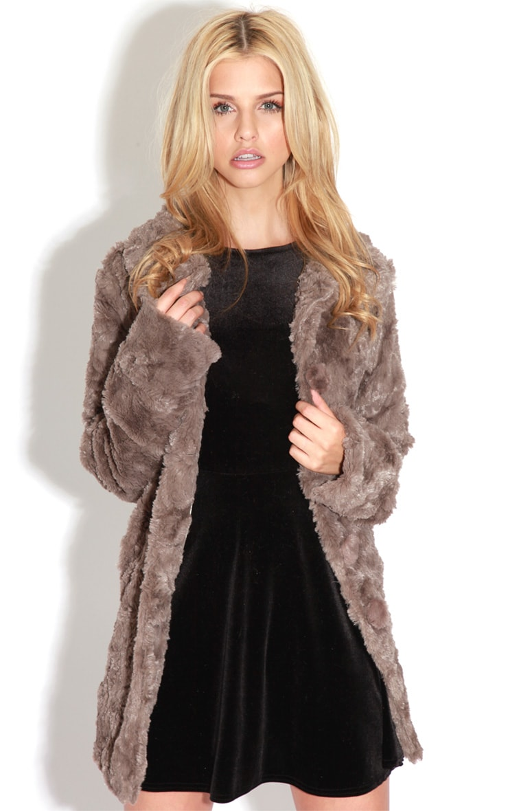 Rani Mocha Faux Fur Coat 1