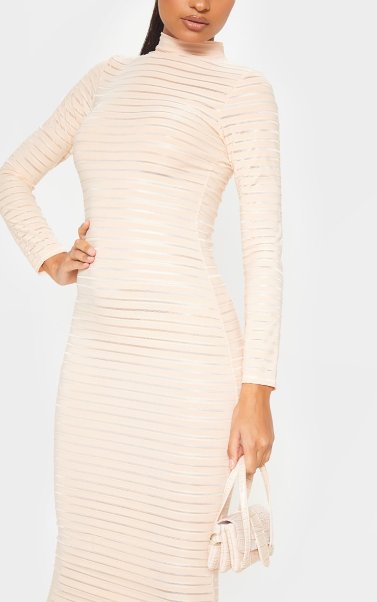 Nude Sheer Stripe Long Sleeve High Neck Midi Dress 5