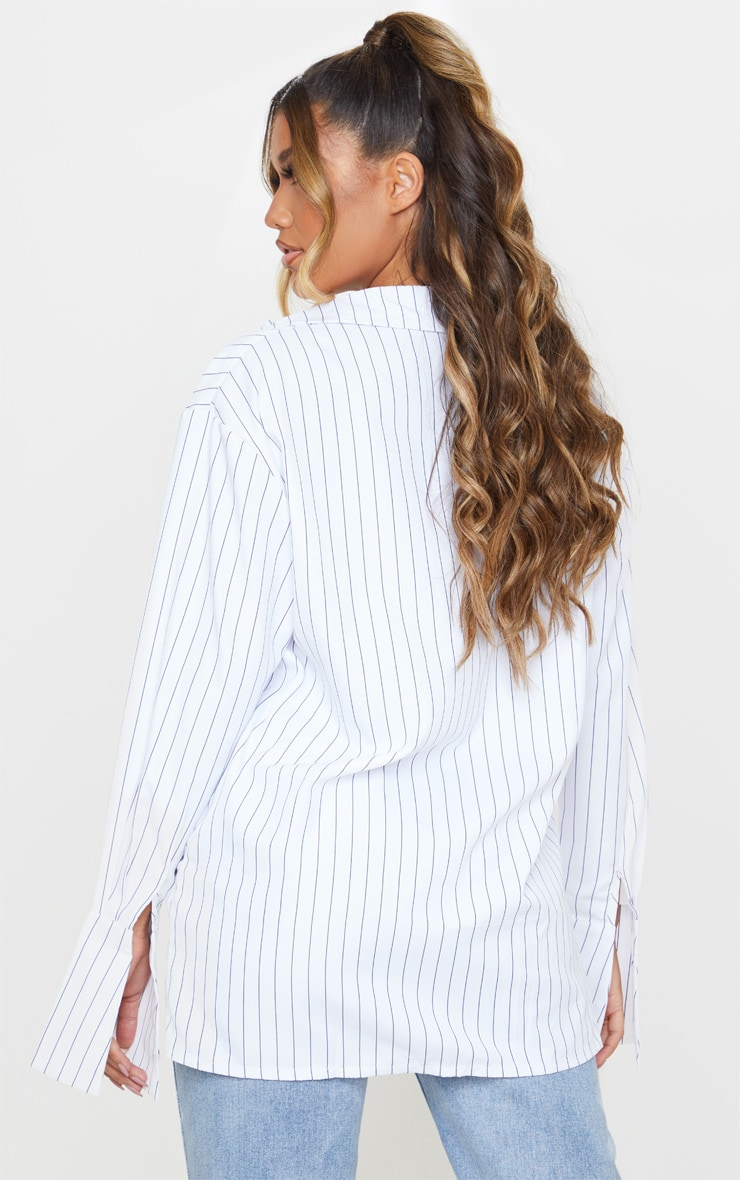 White Pinstripe Oversized Dad Shirt 2