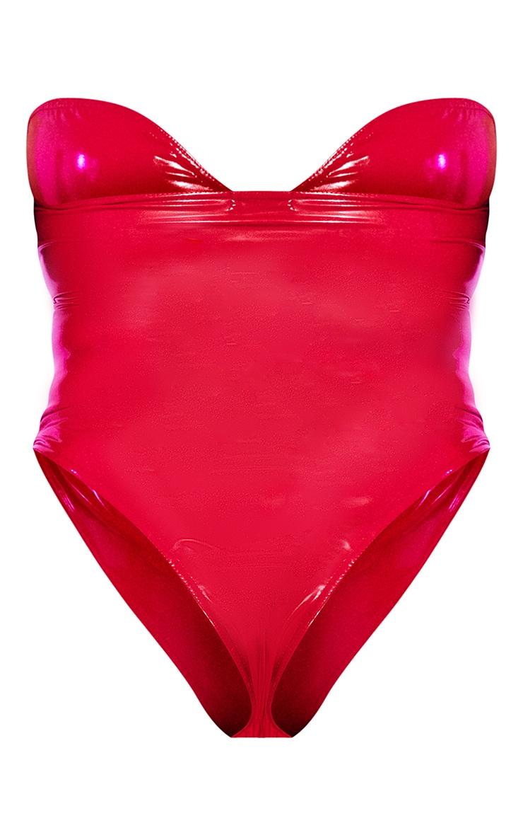 Plus Red Vinyl Bandeau Bodysuit 6