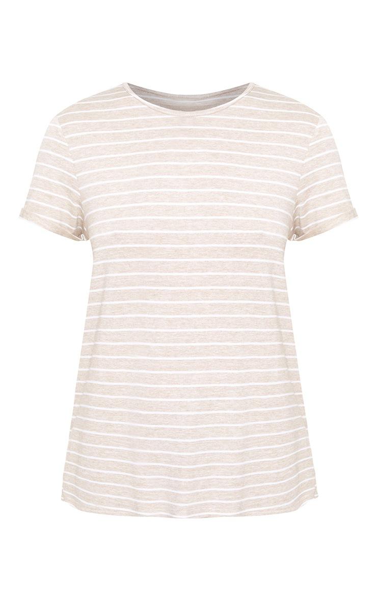 Oatmeal Stripe Open Back T Shirt 3