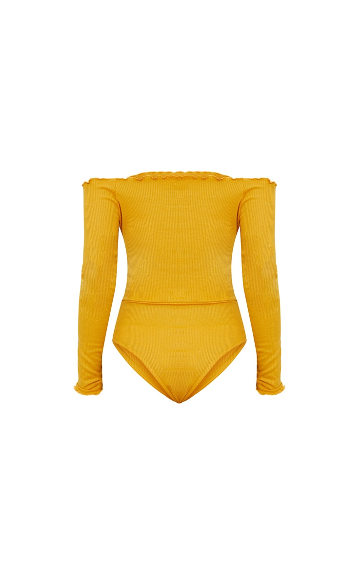 Mustard Frill Edge Long sleeve Thong Bodysuit  4