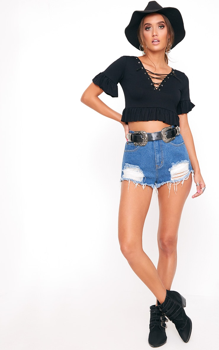 Black Lace Up  Jersey Frill Crop Top  4