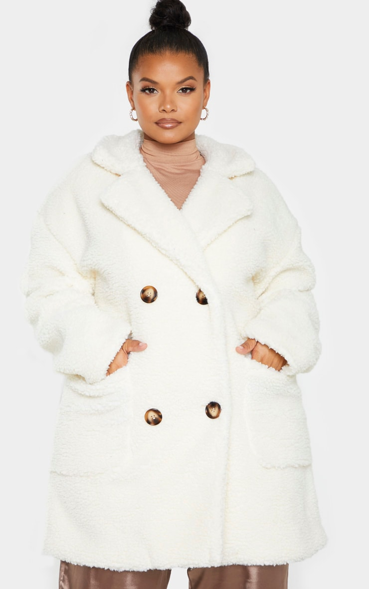 Plus Cream Borg Midi Coat 1