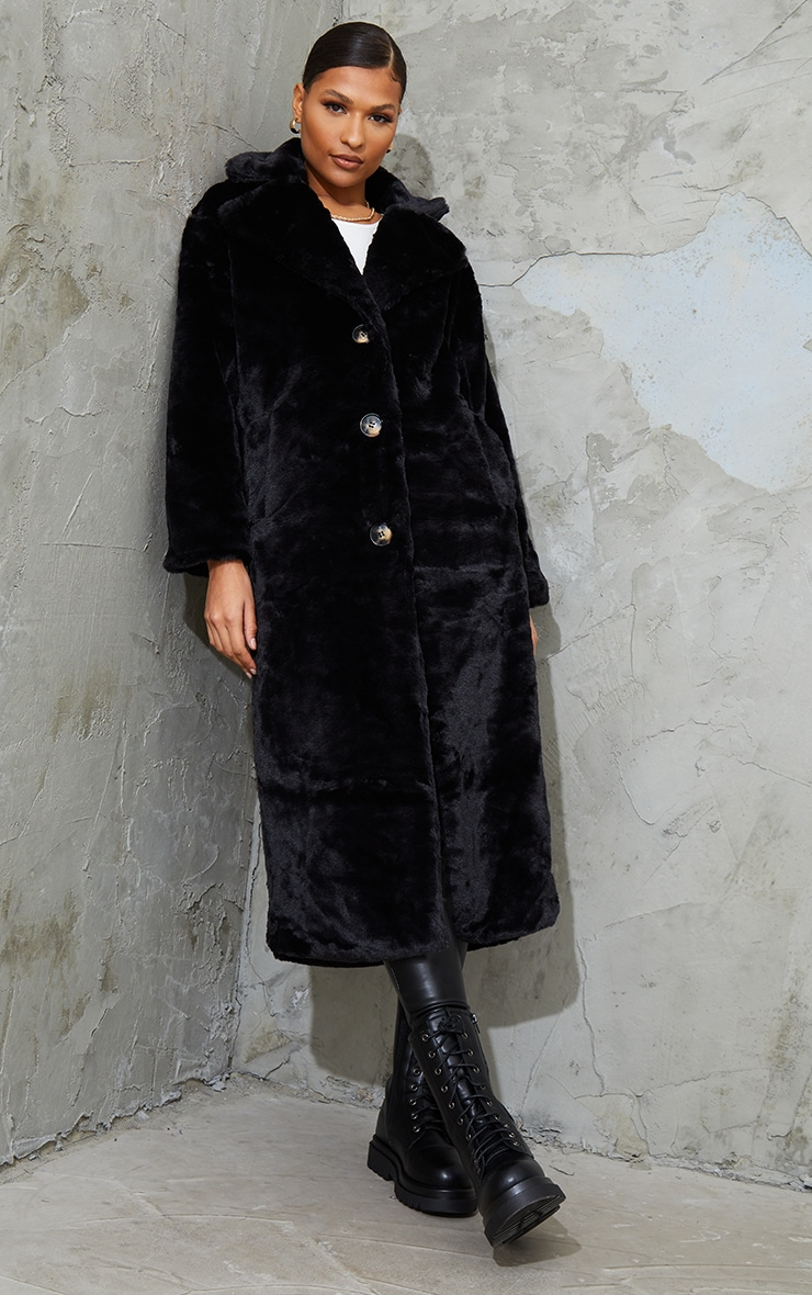 Black Maxi Faux Fur Button Front Coat 3