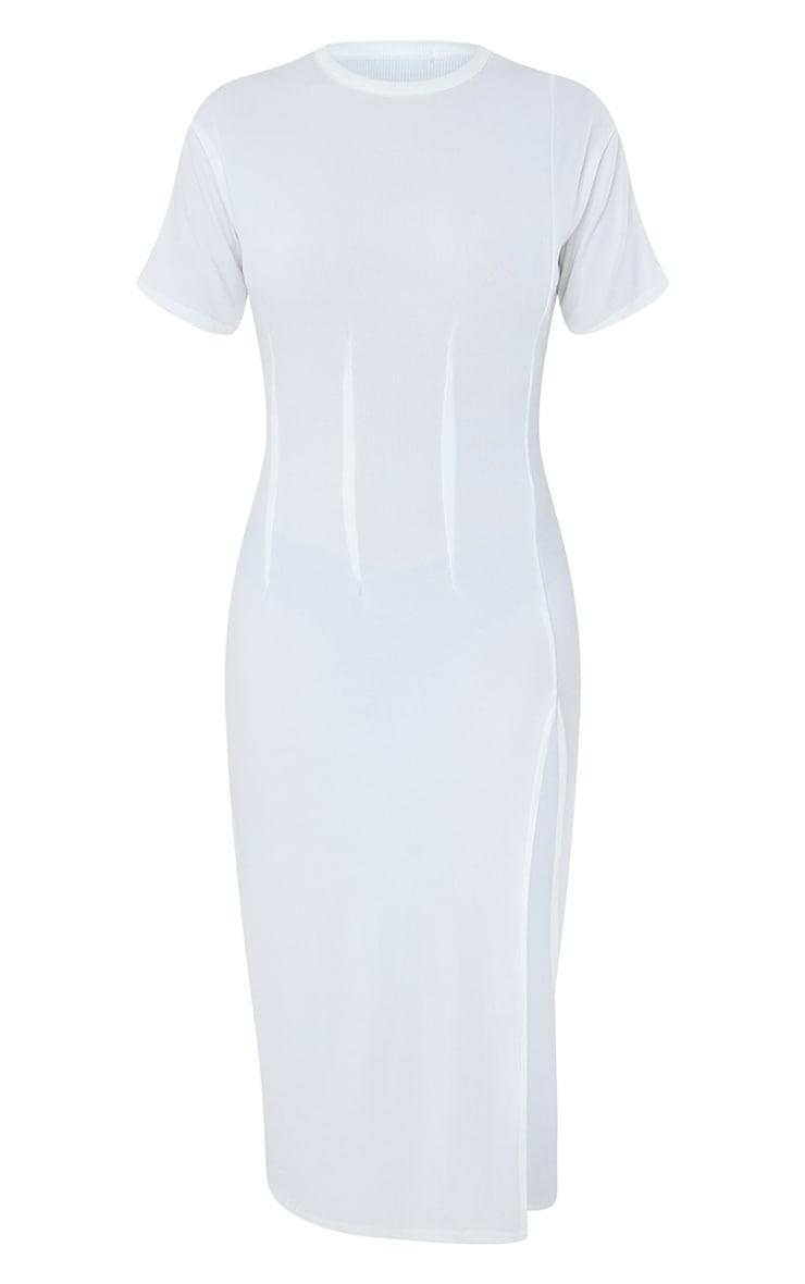 White Rib Pleated Waist Detail Split Hem Midi Dress 5