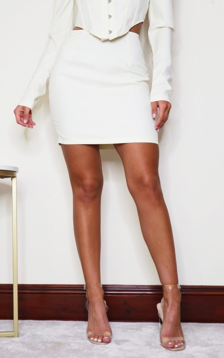 Cream Woven Mini Skirt 2
